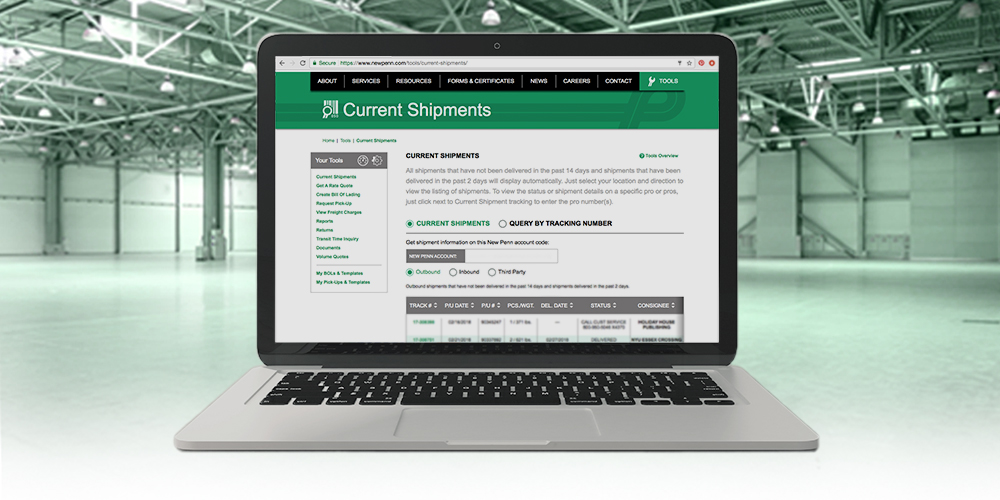 New Penn Current Shipments Tool
